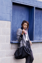 sweater - DKNY blazer - Guess shorts - forever 21 purse - scarf