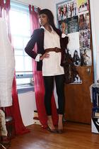 blouse - blazer - H&M tights - Dolce and Gabbana purse