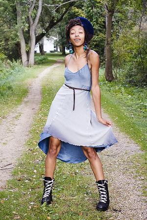 blue Express dress - black boots - brown belt