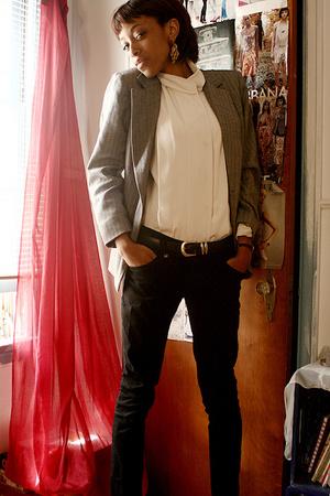 blouse - blazer - jeans