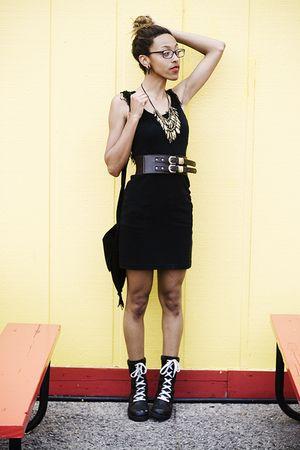 black dress - black boots - black purse - brown Forever 21 belt