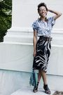 Black-max-mara-skirt-blue-shirt-black-shoes-blue-purse