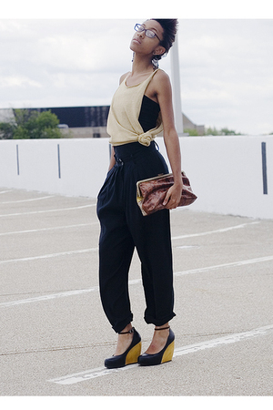 black pants - black H&M shirt - beige shirt - brown Forever 21 accessories - bla