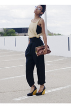 black pants - black H&M shirt - beige shirt - brown Forever 21 accessories - bla