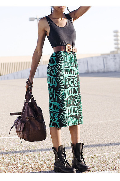 black shoes - green dress - brown Forever 21 accessories - brown belt