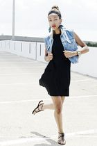 blue salvation army vest - black dilliards shoes - black goodwill dress