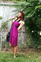 purple skirt - black Forever 21 bag - black For Love intimate