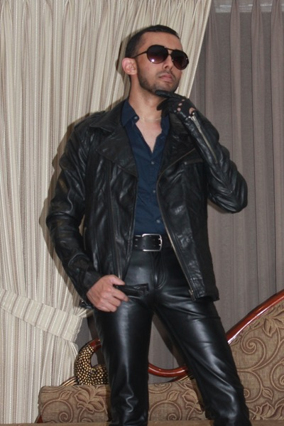 black leather gloves - black leather biker jacket - navy shirt