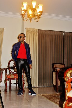 black sunglasses - blue cropped leather jacket - red slim fit polo shirt