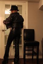 black leather boots - black hat - black leather jacket - black leather belt - bl
