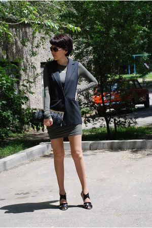 green t by alexander wang dress - gray elisabeth and james jacket - black Tahari