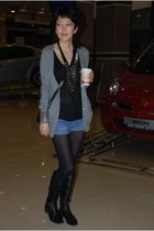 gray Massimo Dutti cardigan - black Givenchy purse - black t by alexander wang t