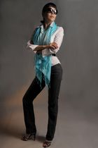 blue Silk scarf - black Karl Lagerfeld sunglasses - blue Manolo Blahnik shoes