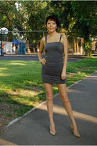 gray JLo dress - beige Jimmy Choo shoes