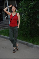 green Blumarine pants - black Givenchy purse - red giordano top - black Zara sho