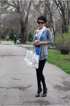 blue Zara top - white Karl Lagerfeld scarf - white Burberry purse - gray Massimo