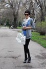 Blue-zara-top-white-karl-lagerfeld-scarf-white-burberry-purse-gray-massimo