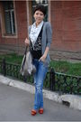 White-k-by-karl-lagerfeld-scarf-blue-zara-jeans-silver-givenchy-purse-red-