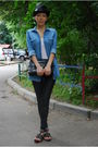 Blue-zara-shirt-black-plush-leggings-black-anya-hindmarch-purse-black-zara