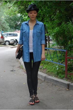 blue Zara shirt - black Plush leggings - black Anya Hindmarch purse - black Zara
