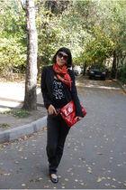 red Fendi purse - black united colors of benetton t-shirt - gray Mexx jacket - g