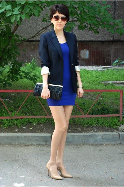 blue stella maccartney blazer - blue H&M dress - beige Jimmy Choo shoes - black