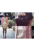 ivory dress - pink vintage jacket - light blue floral comb diy accessories