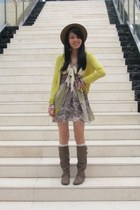 light yellow cardigan - light brown boots - off white Forever 21 socks - brown Y