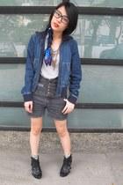 blue vintage jacket - gray SM shorts - white zebra printed Forever 21 socks - bl