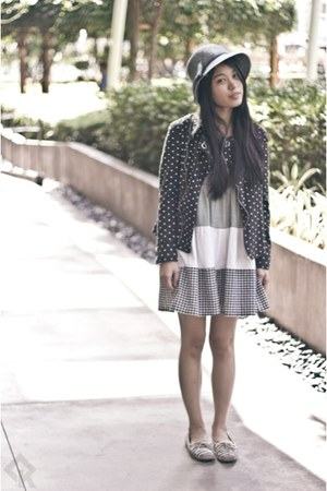navy thrifted jacket - navy Muji shoes - heather gray fab dress