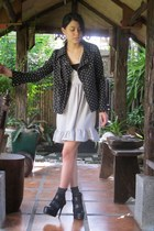 black Charles & Keith shoes - navy jacket - ivory dress - gray Devon socks