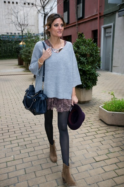 hakei dress - Isabel Marant boots - Zara hat - Miu Miu bag - hakei jumper