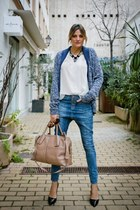 baublebar necklace - Bershka jeans - TODS bag - REPLAY cardigan - Zara blouse