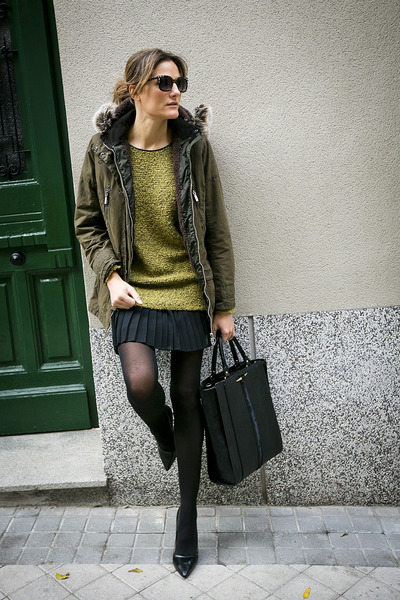 Bimba&Lola jumper - Barbour coat - Zara bag - Zara sunglasses