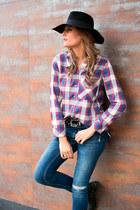Zara boots - Zara jeans - BohoChic hat - hakei shirt
