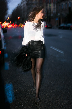 leather Maje skirt