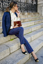 Zara blazer - dior sunglasses - Zara blouse - Mango heels - Oasis pants