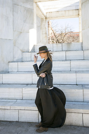 feathers BohoChic hat - Isabel Marant boots - Zara dress - Zara jacket