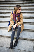 wool cashmere PFF coat - Zara boots - Topshop jeans - Dayaday scarf - Zara bag