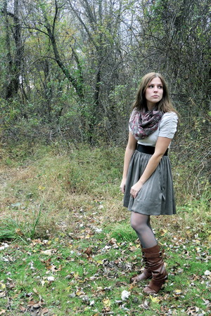 H&M skirt - H&M scarf - H&M shirt - thrifted tights - Target boots