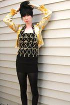 black vintage dress - yellow vintage top