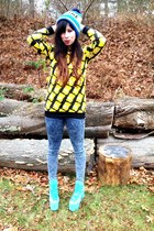 yellow bart romwe shirt - light blue hellbounds UNIF shoes