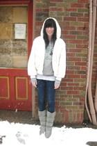 white vintage coat - silver vintage boots