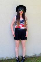 black studded tba boots - red flag diva shirt