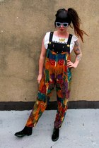 forest green velvet Miista boots - orange abstract Spanish Moss pants