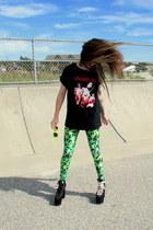 black blood dwarves shirt - lime green weed OASAP leggings