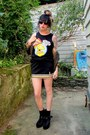 Black-bart-bow-and-arrow-shirt-black-cheerleader-vintage-skirt
