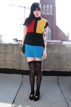 turquoise blue cutoff vintage skirt