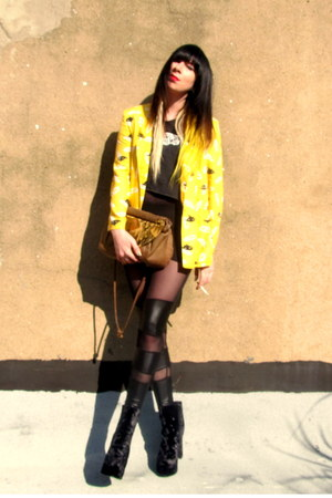black velvet Urban Outfitters boots - yellow yellow sweet jane vintage blazer
