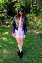 light pink romy some velvet dress - black skate witches some velvet jacket